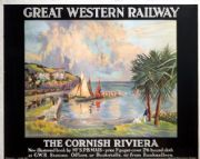 The Cornish Riviera, Cornwall. Vintage GWR Travel poster by L Burleigh Bruhl. c1928